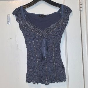 Anthropologie Ann Femiday Blue Lace Top Small